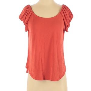 Lucky Brand Orange Ruched Sleeves Blouse